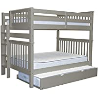 Bedz King Bunk Beds Full over Full Mission Style with End Ladder and a Twin Trundle, Gray