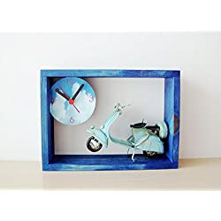 Blue Vespa clock, royal blue frame wooden clock for wall or desk with a sky blue Vespa scooter miniature