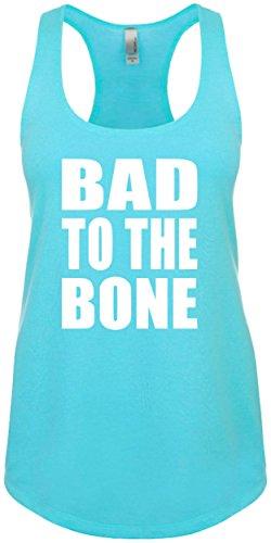 Junior's Funny Tank Top Size L (BAD TO THE BONE) Ladies Novelty Womans Tee Shirt (Bones Tank)