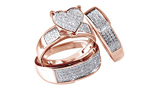 Silvergemking White Natural Diamond Heart Shape Engagement & Wedding Trio Band Ring Set In 10k Rose Gold Over
