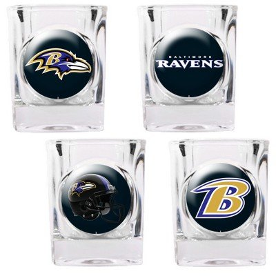 NFL Baltimore Ravens Four Piece Square Shot Glass Set (Individual - Glasses Baltimore