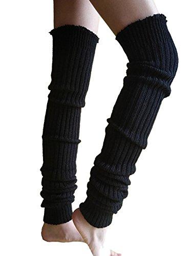 Wildestdream Women's Super Long Cable Knit Leg Warmers Boot Cover Socks Black
