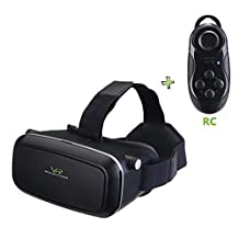 Coowan® 3D VR Virtual Reality Glasses with Head-mounted Headband and Bluetooth remote controller for 3.5-6.0 Inch Google iPhone Samsung note LG Nexus HTC Moto black berry Mobile Smartphones, Black