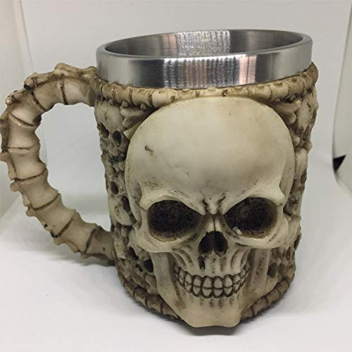 AHTOSKA 3D Double Wall Stainless Steel Dragon Mug Coffee And Tea Bottle Skull Tankard Dragon Drinking Cup For Halloween