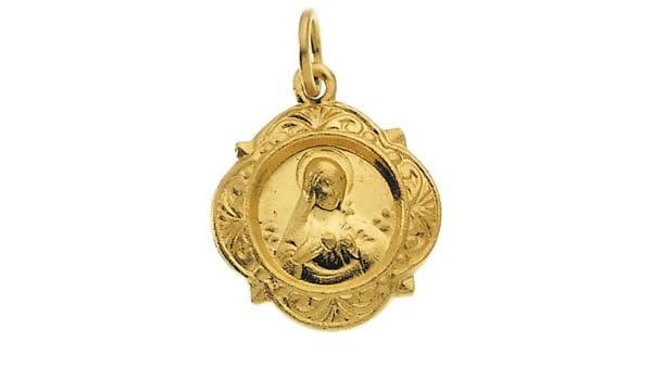 14K Yellow Gold 12.14x12.09mm Caridad del Cobre Medal