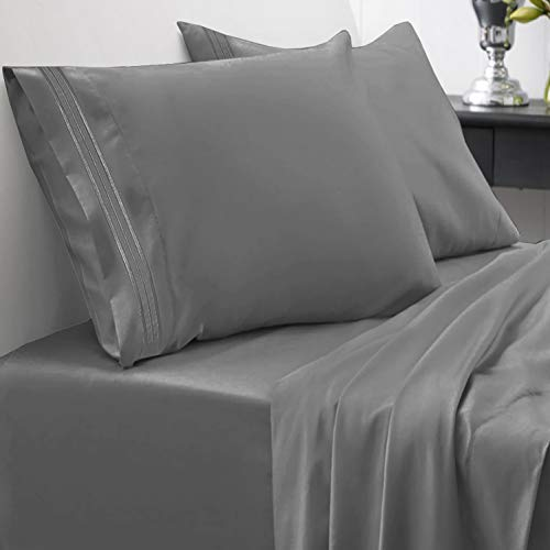 - 1800 Thread Count Sheet Set - Soft Egyptian Quality Brushed Microfiber Hypoallergenic Sheets - Luxury Bedding Set with Flat Sheet, Fitted Sheet, 2 Pillow Cases, Queen, Gray