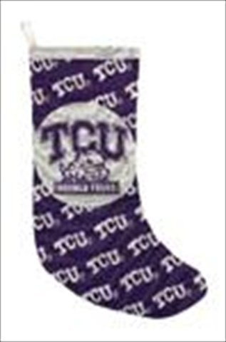 Manual Woodworkers and Weavers CUSTOM-TSTCUC Texas Christian Horned Frogs Tapestry Stocking Woven Cotton 12 X 20 in.