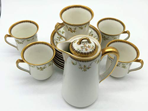 Haviland & Co. Limoges 5 Tea Cups, 9 Saucers and 1 Pot 1893-1930