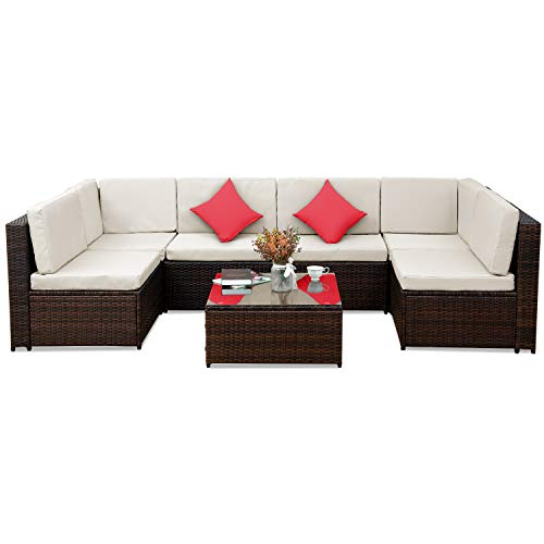 7 PCS Outdoor Rattan Wicker Furniture Set Garden Patio Sectional Sofa with Cushioned Seat and Glass Coffee Table for Poolside, Backyard, Deck or Patio (Beige Cushion) ()