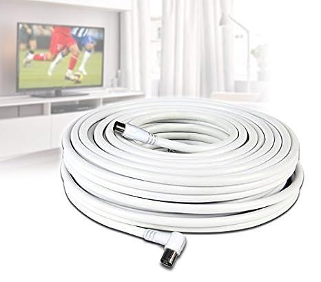 Cable coaxial de 30 metros para la conexión de antena TV (macho y hembra)