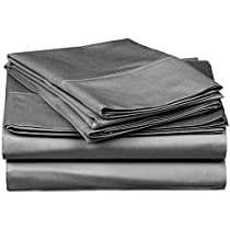 Sheet Set 300 Thread Count-100% Premium Long-Staple Combed Cotton Deep Pocket, Flat Sheet, Fitted Sheet and Pillow Cases, Single Ply, Solid 4 Piece Sheet Set