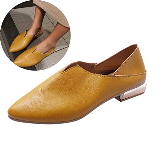 Clearance! Swiusd Womens Pointed Toe Single Shoes Retro Low Heel Shallow Loafers Elegant Solid Color Leather Slip On Work Shoes (Yellow, 6.5 M US) (Best Dance Mat For Xbox 360)