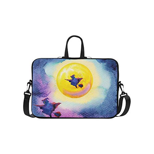 InterestPrint Halloween Witch with Yellow Full Moon Painting Halloween Party Waterproof Neoprene 15 15.6 Inch Laptop Sleeve Case Shoulder Bag with Handle & Strap for Women Men