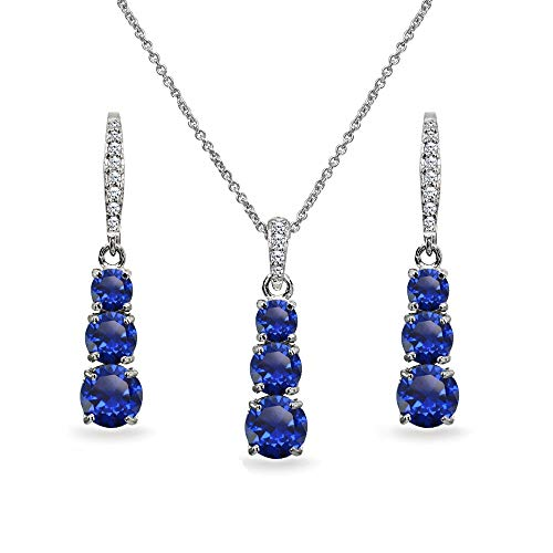 (Sterling Silver Created Blue Sapphire 3-Stone Journey Pendant Necklace & Dangle Leverback Earrings Set for Women Teen)