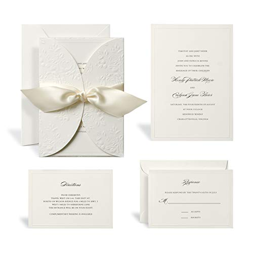 Wedding Invitation Kit by Celebrate It, Embossed Ivory Wrap