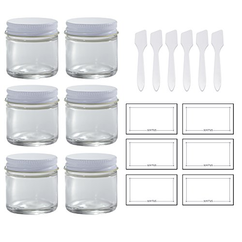 Clear Thick Glass Straight Sided Jar with White Metal Airtight Lid - 1 oz / 30 ml (6 pack) + Spatulas and Labels