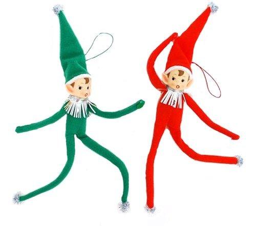 Set of 2 Retro Pixie Elves Christmas Tree Ornaments-Bendy and Flexible -