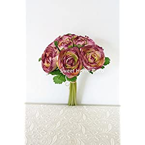 Sweet Home Deco 11'' Silk Ranunculus Artificial Flower Bouquet 9 Stems for Wedding/ Home Decorations 82