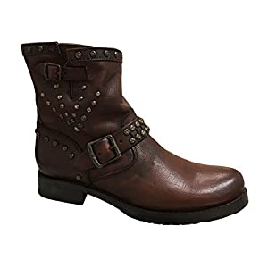 FRYE Women's Veronica Stud Moto Short Motorcycle Boot, Dark Brown, 6.5 M US