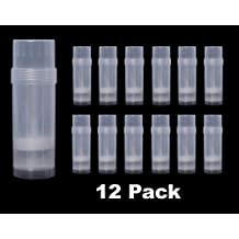Empty Deodorant Containers Round (2.2oz, Pack of 12) - BPA Free Clear Plastic, Small Size Great for Carry-On Travel, DIY Make Your Own Deodorant, Lip Balm, Lotion Bar, Moisturizer, Heel Balm,Sunscreen