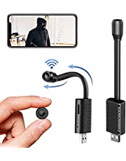 Small USB Hidden Camera Wifi,Portable Mini IP Camera Nanny Camera Surveillance Camera Wireless with Motion Detection,Cloud Storage,Live Feed Streaming,Remote Viewing for Outdoor Indoor Security with iOS,Android Phone APP