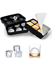 Ice Cube Trays silicone case 2PCS, spherical ice hockey machine with lid and large square ice cube mold for whiskey, reusable and BPA-free (With Funnel & Lids)