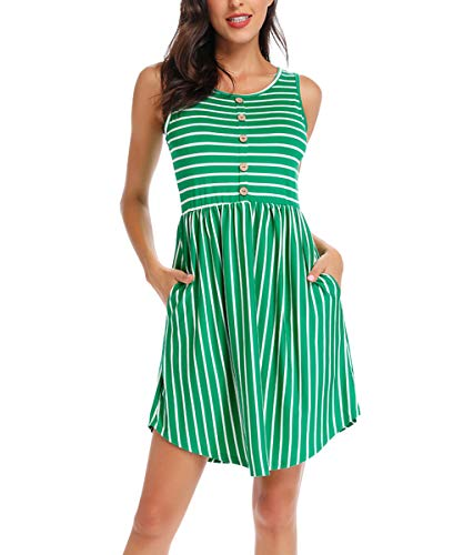 INWECH Women's Summer Sleeveless Dresses Casual Striped Swing T-Shirt Dress with Pockets (Green, Small)