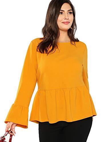 9d7a0464ce102 Romwe Women's Plus Size Solid Long Sleeve Flounce Ruffle Hem Blouse Shirts  Top