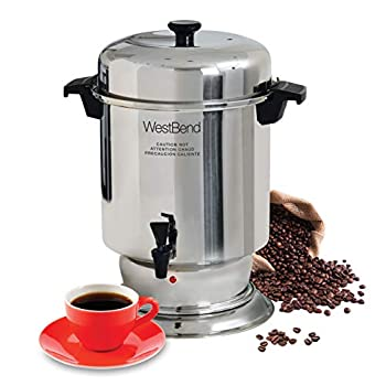 Image of Coffee Servers West Bend 13550 Polished Stainless Steel Commercial Coffee Urn Features Automatic Temperature Control Large Capacity with Quick Brewing Easy Clean Up, 55-Cup, Silver