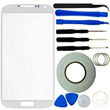 Samsung Galaxy S4 Screen Replacement Kit including 1 Replacement Screen Glass for Samsung Galaxy S4 i9500 / 1 Pair of Tweezers / 1 Roll of 2mm Adhesive Tape / 1 Tool Kit / 1 ECO-FUSED Microfiber Cleaning Cloth (White)