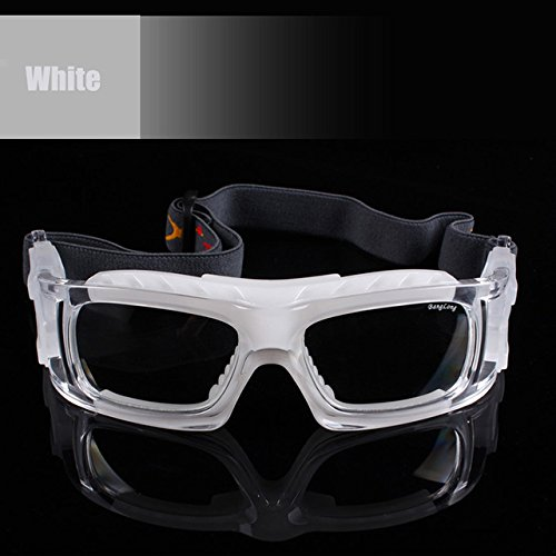 028c7de3979 Lepakshi White  Sport Basketball Football Glasses Eye Protective Goggles  Soccer Tennis Eyeglasses Prescription Eyewear Mya Frame Xa016  Amazon.in   Clothing ...