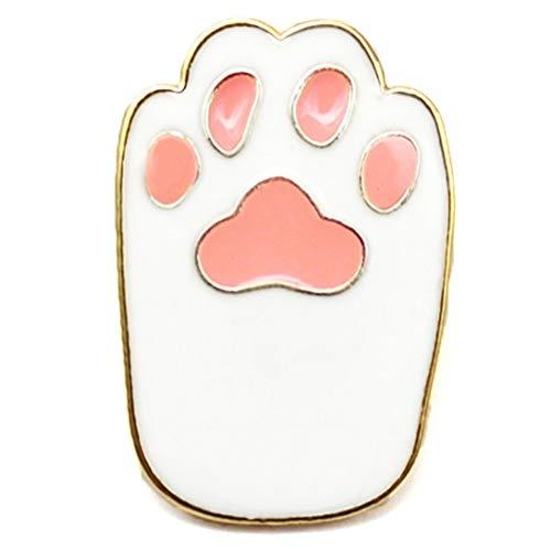 Flairs New York Premium Handmade Enamel Lapel Pin Brooch Badge ([Cat] Snow White Paw, 1 Pin)