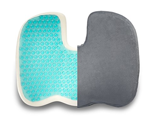 Coccyx Seat Cushion Gel-Enhanced Pillow - Memory Foam Quality Comfort & Large Designed Orthopedic Pillow for Sciatica, Back, Coccyx and Tailbone Pain Relief (Grey) By Dr. Flink