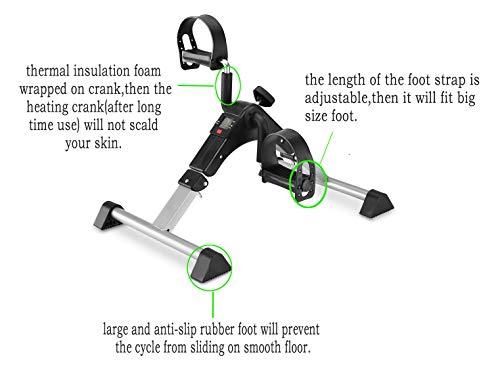 MOMODA Stationary Cycle Pedal Exerciser Desk Exercise Bike with LCD Monitor Foldable (Black/Grey) by MOMODA (Image #6)