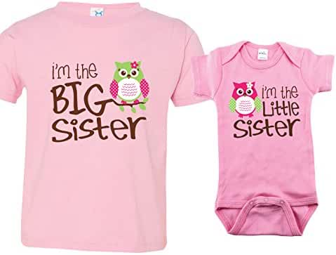 Sibling Shirt Set for Sisters and Brothers, Includes Im the Big Sister with Owl