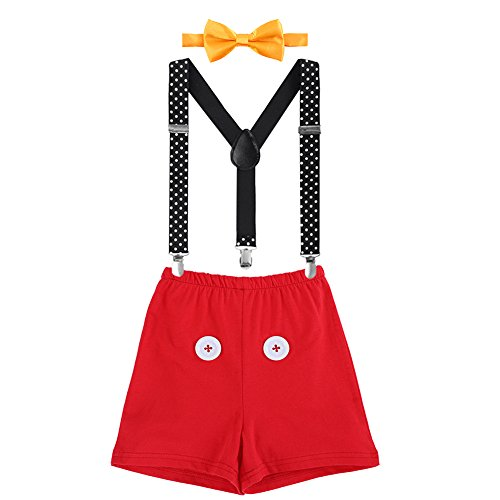 Cake Smash Mickey Outfit Baby Boy First Birthday Party Bottoms Bowtie Y-Back Suspenders Photography Props Bottoms Bowtie Suspenders 3pcs Clothes Set Boxers & Red Button 0-6 Months]()