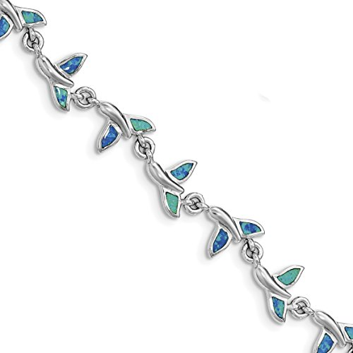 ICE CARATS 925 Sterling Silver Whale Tail 7.75in Bracelet 7.75 Inch Animal Fine Jewelry Gift For Women Heart by ICE CARATS (Image #3)