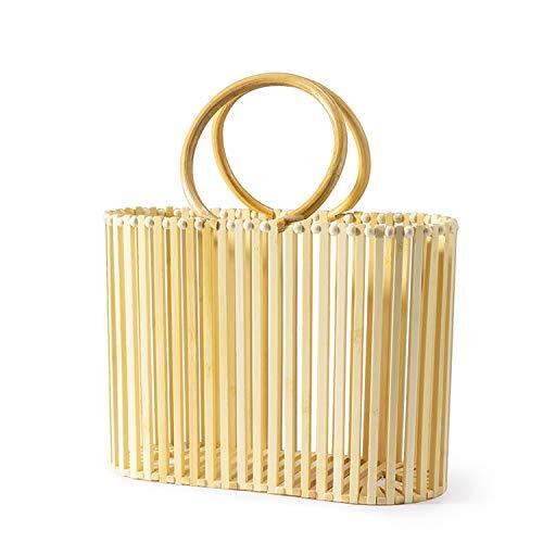 women bamboo bag bucket handbag wooden Beach bag for ladies bamboo rattan straw bag for summer,natural