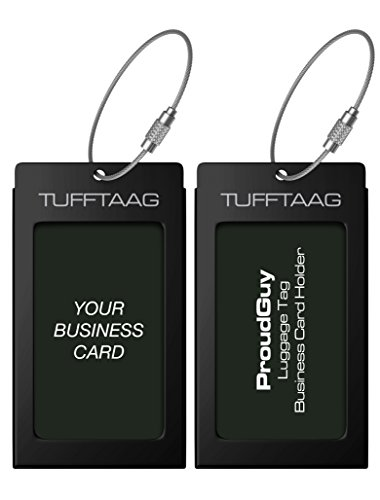 Luggage Tags Business Card Holder TUFFTAAG PAIR Travel ID Bag Tag - Onyx