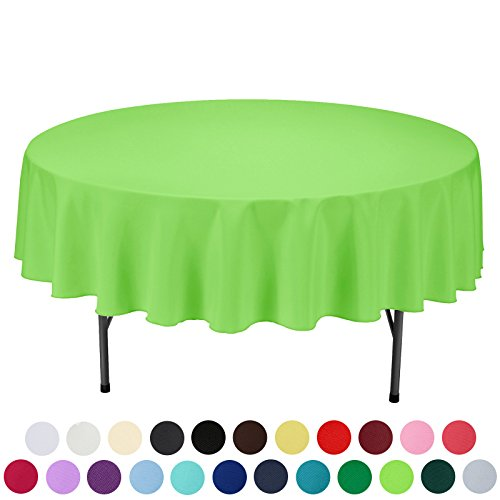 VEEYOO 90 inch Round Solid Polyester Tablecloth for Wedding Restaurant Party, Apple Green