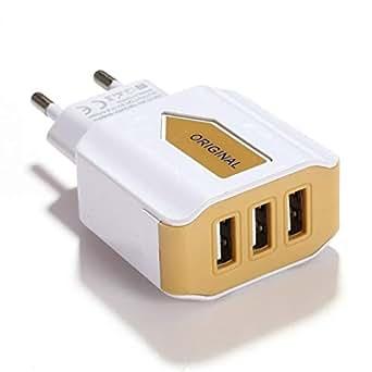 Kisshes Adaptador de cargador de corriente alterna USB da Muro a 3 puertos para iPhone, iPad, Huawei, Samsung Galaxy, Tableta y dispositivos USB