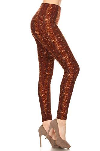 S707-EXTRAPLUS Golden Brown Boa Print Leggings
