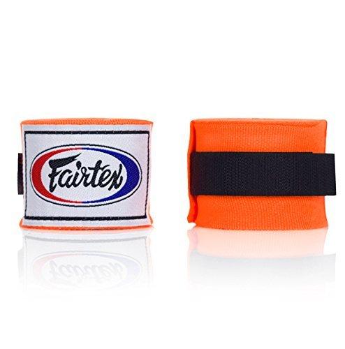 Fairtex Muay Thai - Elastic Cotton Handwraps HW2 180'' Full Length Hand Wraps - Orange by Fairtex
