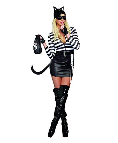 Dreamgirl Women's Cat Burglar Costume, Black/White, (Woman Burglar Halloween Costume)
