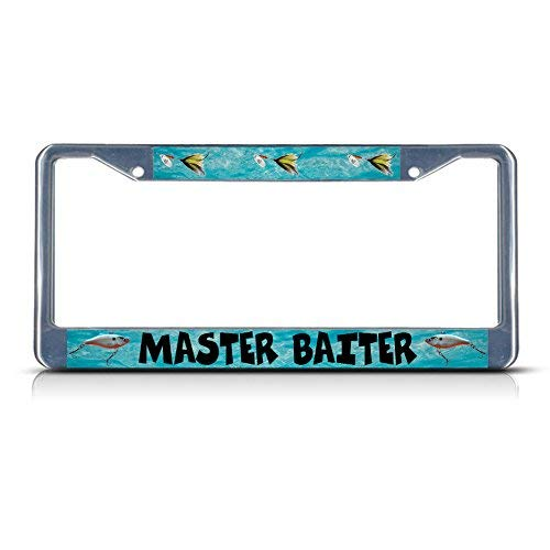 Master Baiter Fishing Fish Metal License Plate Frame Tag Border Two Holes Perfect for Men Women Car garadge Decor License Plate Covers for Womens US Standard(Chrome/Black)