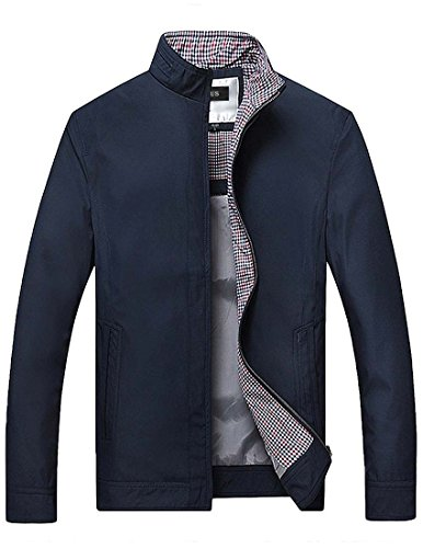 Nidicus Men Casual Stand Collar Zip-up Classic Jacket Polyester Windbreaker Navy - Office Jacket