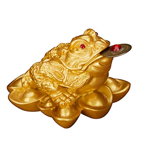 (Feng Shui Resin Money Frog (Three Legged Toad/Wealth Frog) Figure Home Office Decoration(Gold,)