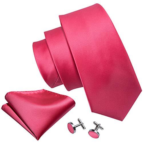 Rose Red Ties for Men Satin Necktie and Cufflinks Silk Wedding Groom Tie