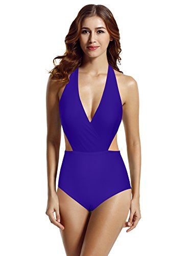 (zeraca Women's Surplice Neckline High Waisted Halter One Piece Monokini Swimsuit (Smouldering Navy, Small / 6) )