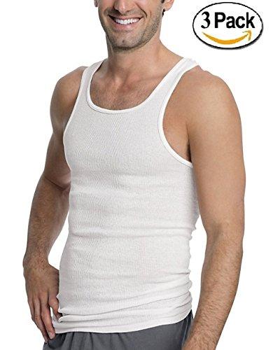 Goza Cotton Men's Tagless A-Shirt Undershirt Top Tank Athletic Fit White (3 Pack) (Large)
